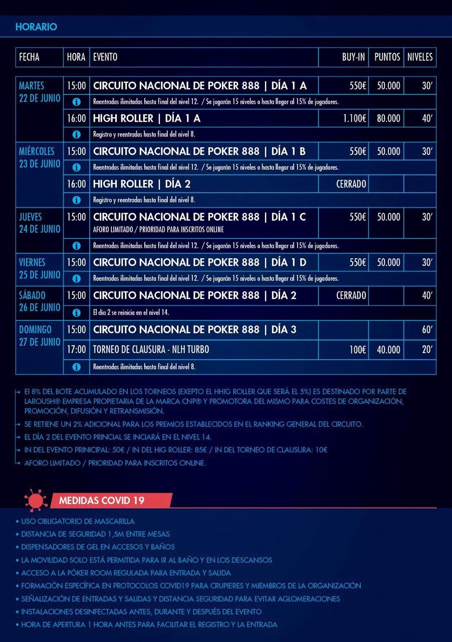 Programa del torneo de poker CNP888, del 22 al 27 de junio en Casino Gran Vía.